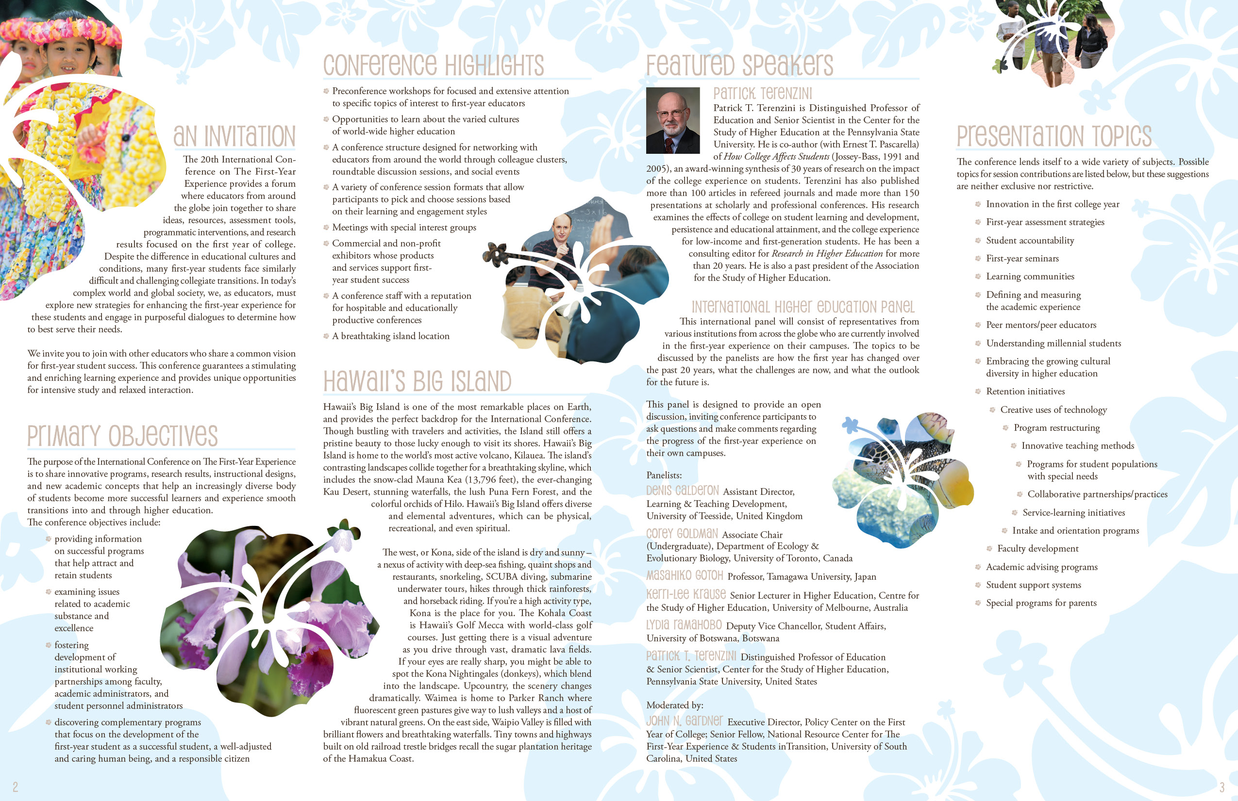 Design for International Conference in Hawaii 1st page spread