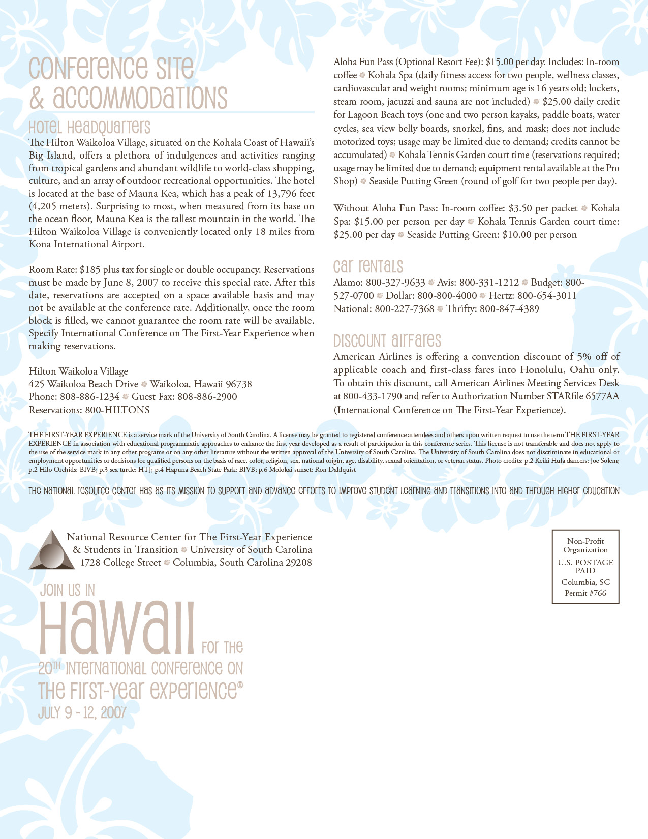 Design for International Conference in Hawaii Back Cover and Mailer section