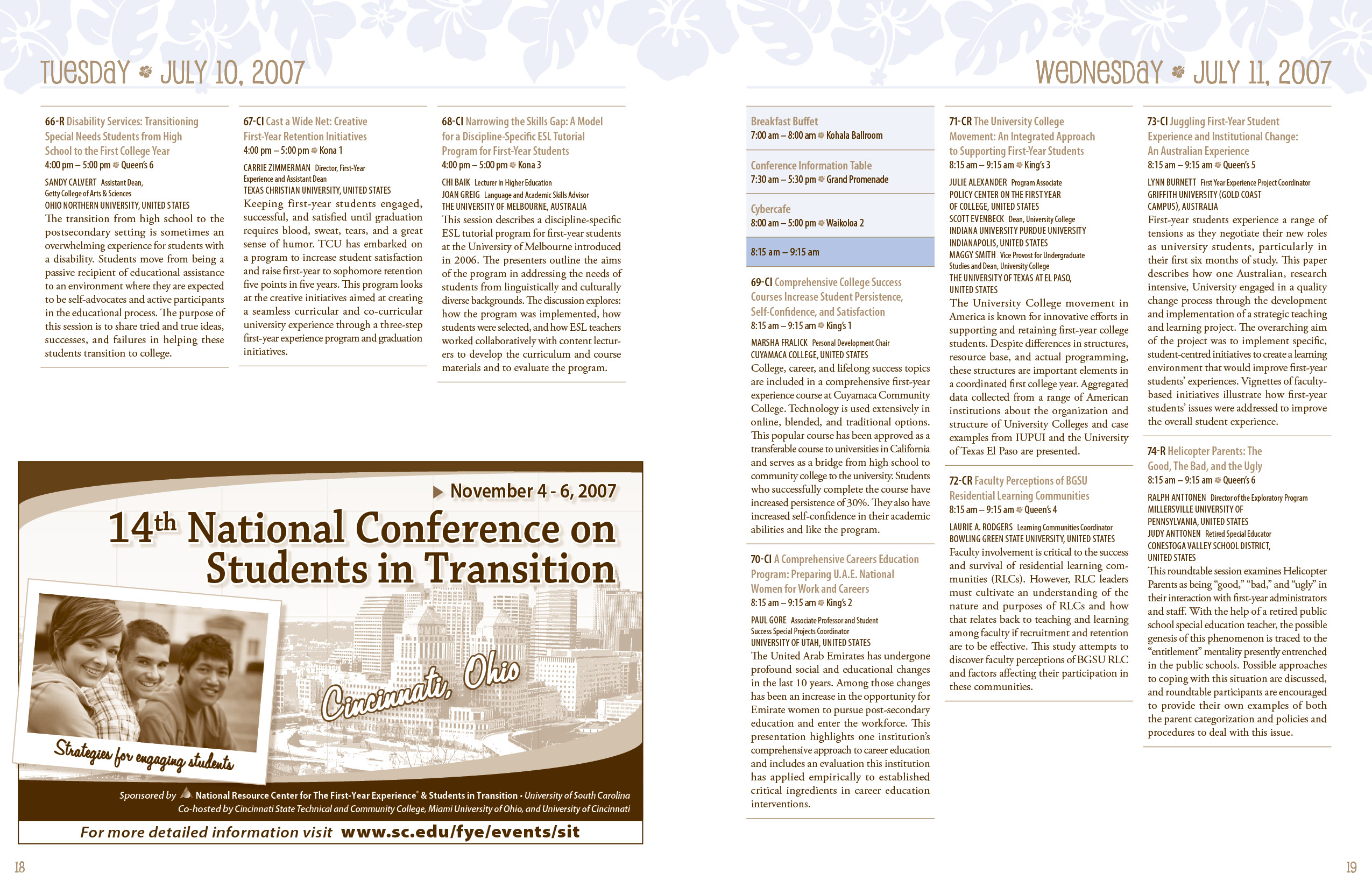 Design and layout for conference program booklet