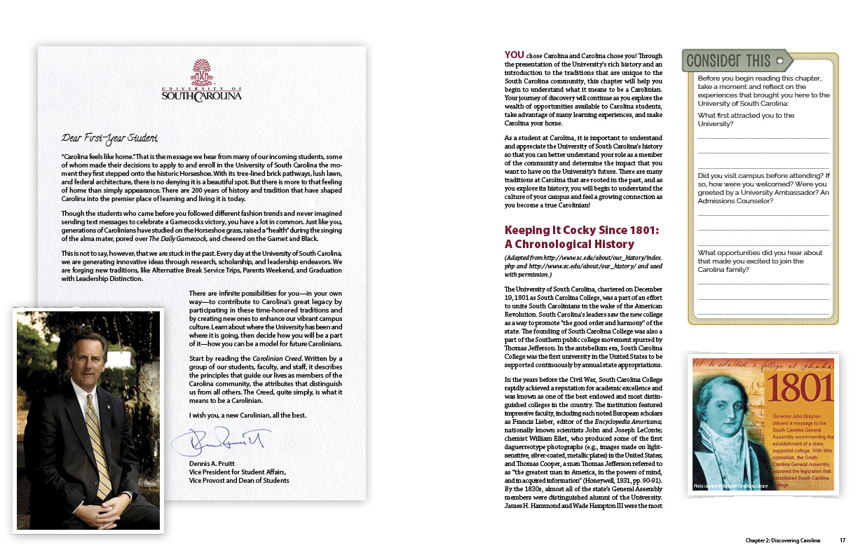 All chapters begin with a letter from faculty at USC