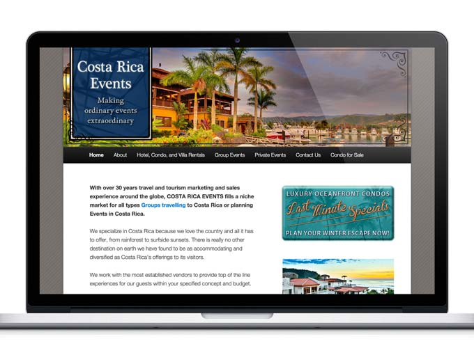 Website Design for Small Business: Costa Rica Events
