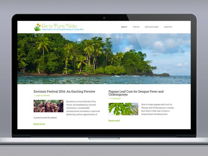 Website Design for Costa Rica Travel & Adventure Blog