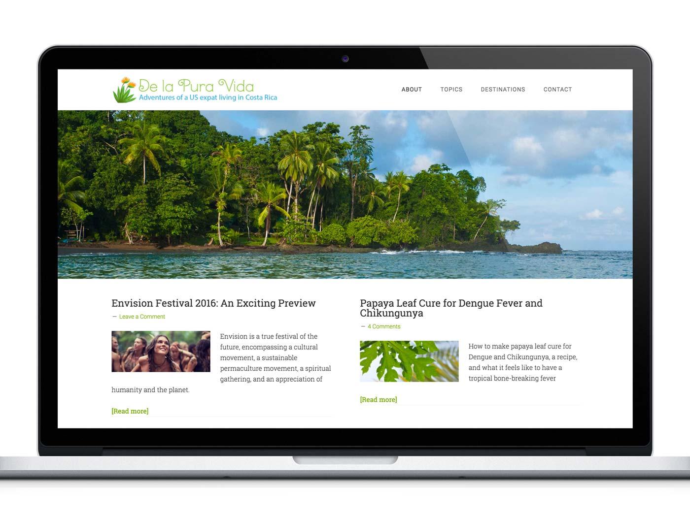 Website Design for Costa Rica Travel & Adventure Blog