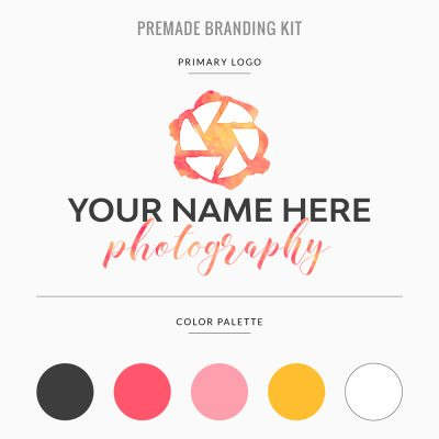premade branding template for photographer in warm hues pink and yellow with logo, color palette, and customizable