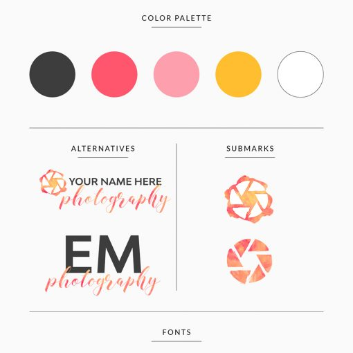 customizable premade branding template for photographer in warm colors pink and yellow with logos and submarks