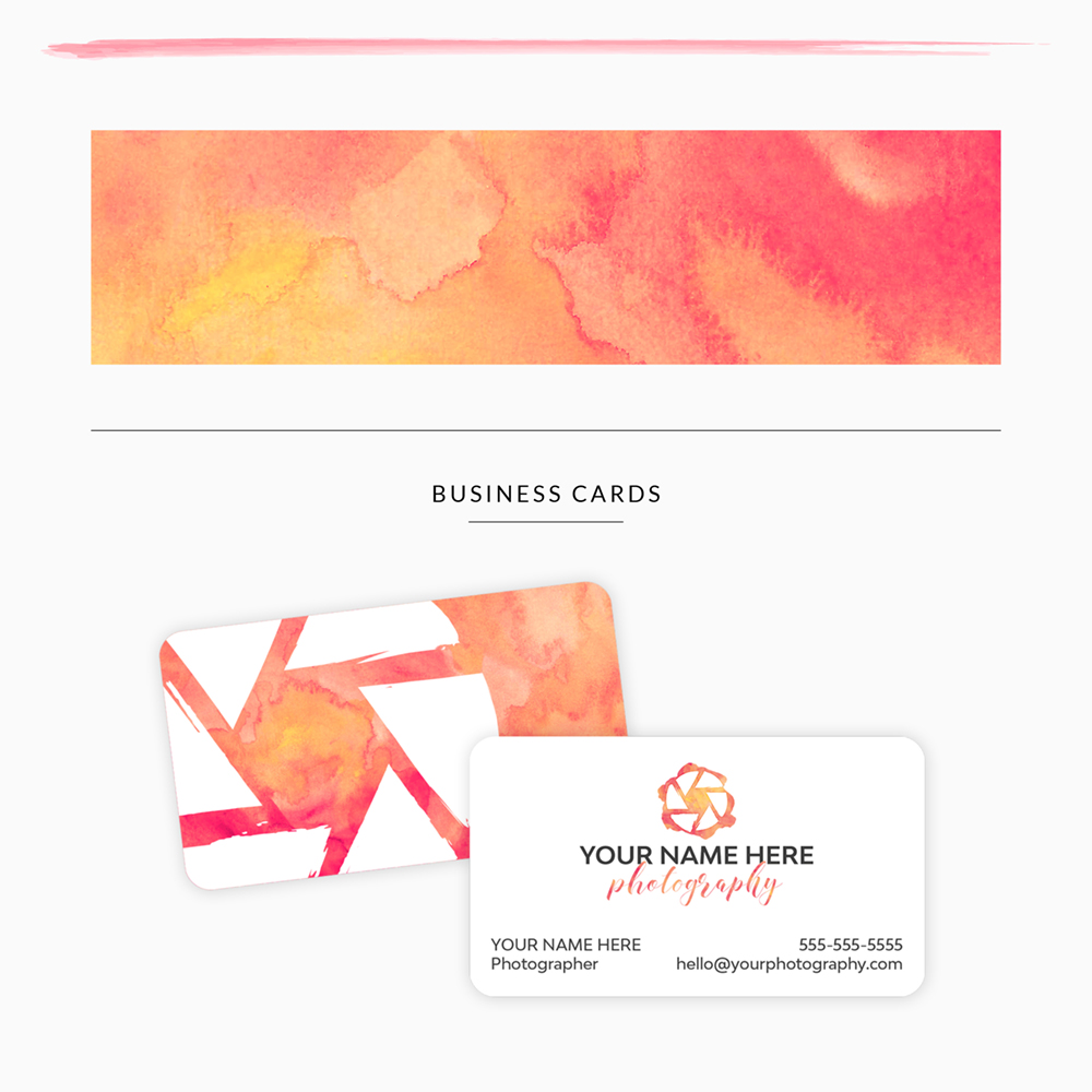 customizable premade branding template for photographer with custom personalized business cards - warm pink, yellow, orange