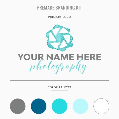 premade branding template for photographer in teal with logo, color palette, and customizable