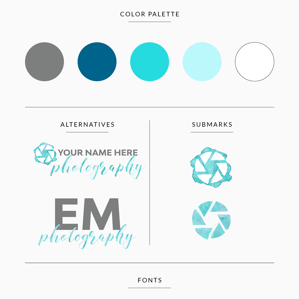 customizable premade branding template for photographer in teal with logos and submarks