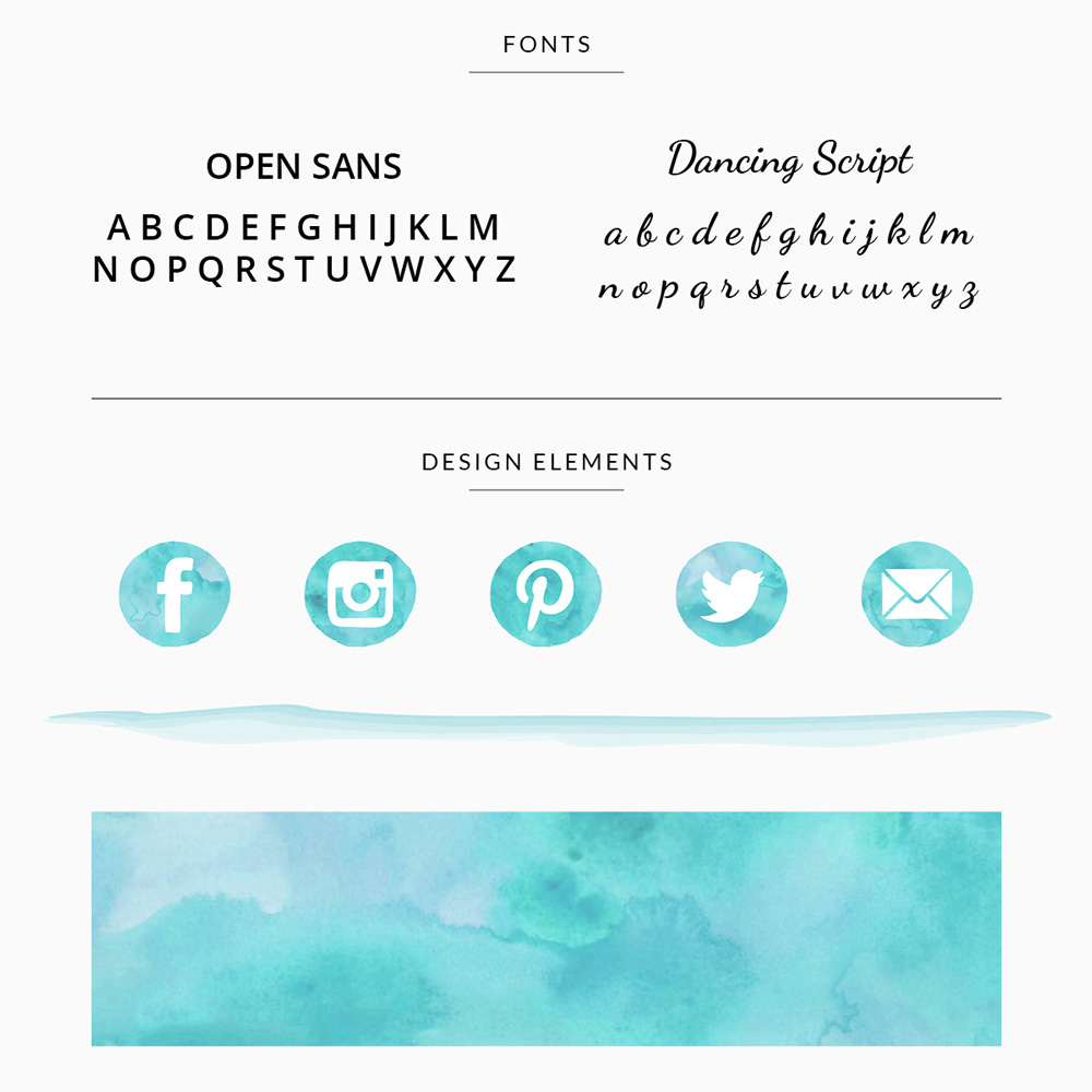 customizable premade branding template for photographer in teal with fonts, design elements, and patterns