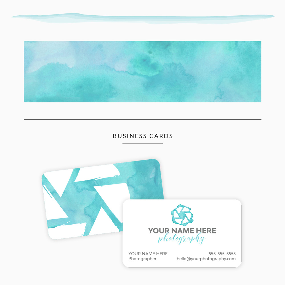 customizable premade branding template for photographer with custom personalized business cards